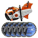 Stihl TS420 Gas Cut Off Saw PLUS 5 Diamond Blades 14-Inch 12mm