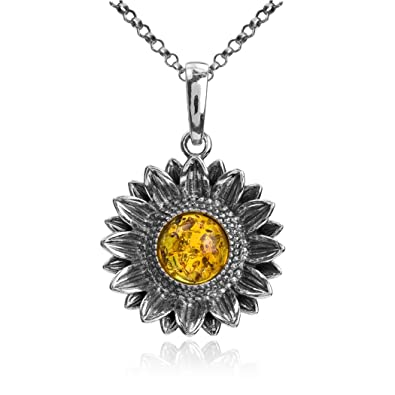 Amber sterling silver sunflower necklace pendant chain 46cm amazon amber sterling silver sunflower necklace pendant chain 46cm aloadofball Image collections