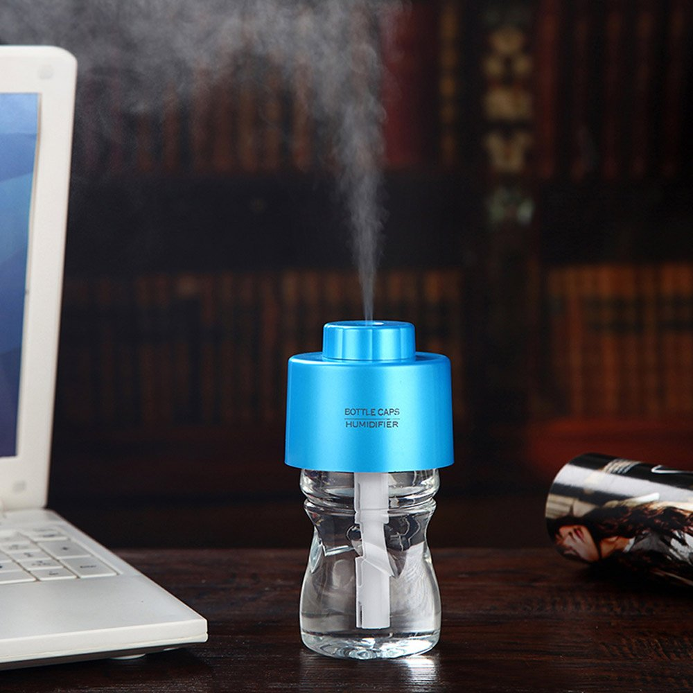 SODIAL R Mini Portable Bottle Cap Air Humidifier with USB Cable for Office Home Blue Color