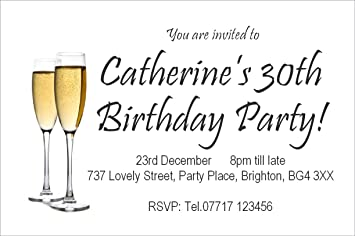 50 personalised magnetic birthday party invitations champagne 50 personalised magnetic birthday party invitations champagne glasses 18th 21st 30th 40th 50th 60th filmwisefo