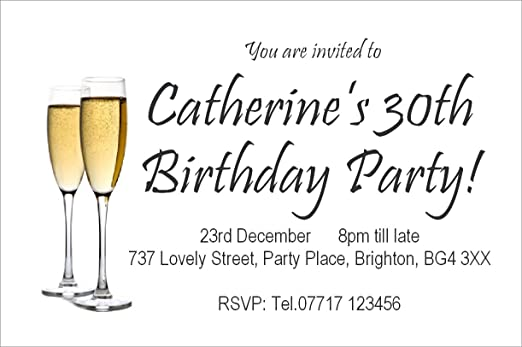 50 Personalised Magnetic Birthday Party Invitations Champagne – Champagne Party Invitations