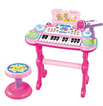 ZUJI Piano Infantil 24 Teclas Electrónico Teclado Piano Keyboard Piano Juguete con Micrófono Instrumentos Musicales Regalo Educativo para Niños