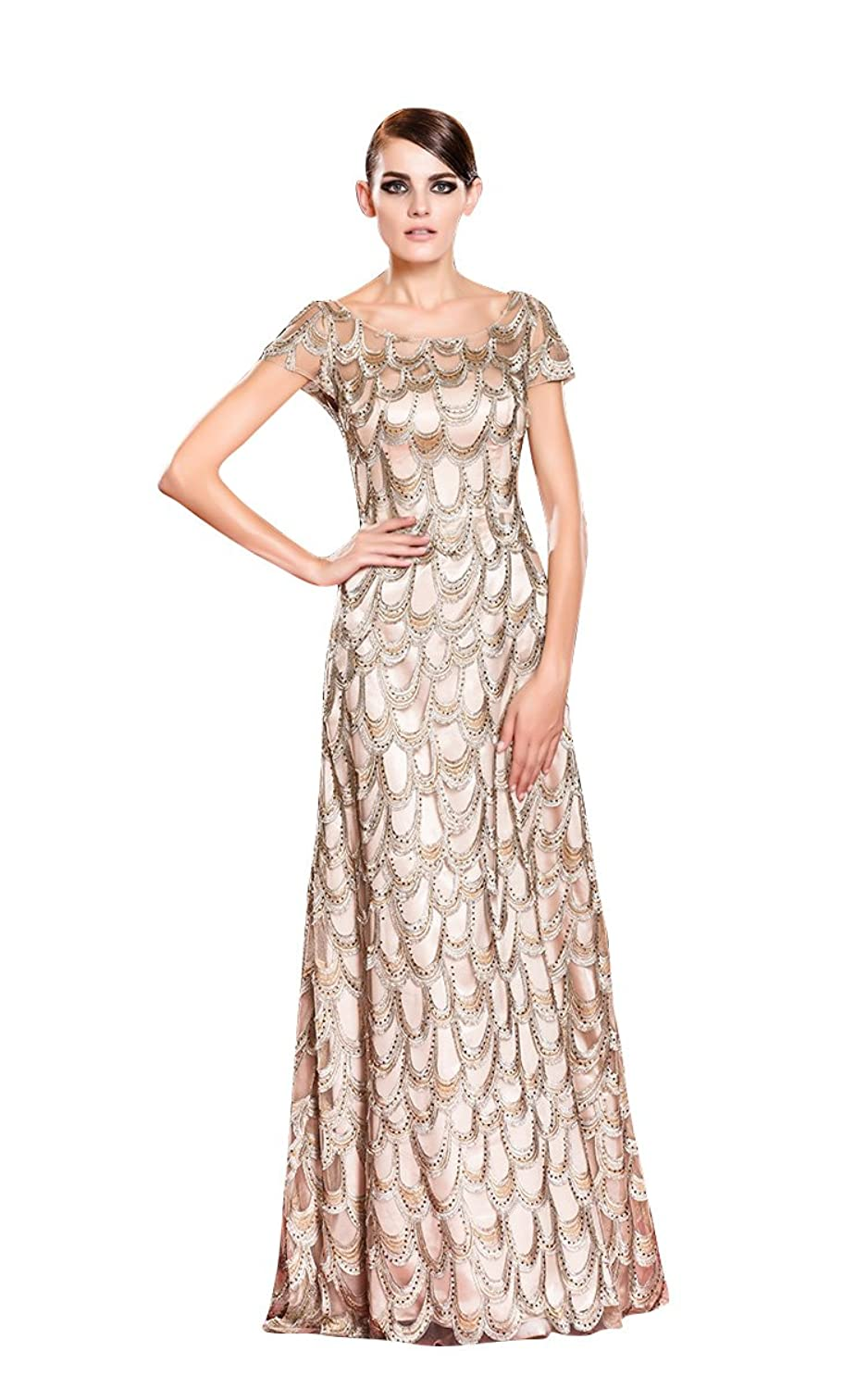 Beauty-Emily A-Line Maxi Short Sleeve Hollowed-out Lace Evening Gowns