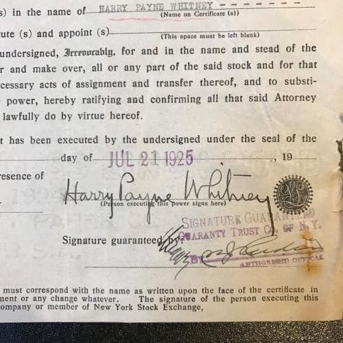 1 Harry Payne Whitney Signed Stock Certificates Kentucky Derby Regret Whiskery