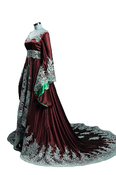 Lemai Vintage Long Sleeves Formal Evening Gowns A Line Women Gothic ...