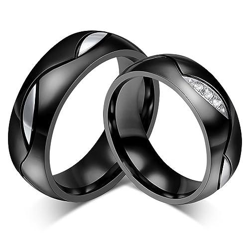 KNSAM - Anillos de boda de acero inoxidable para mujeres y hombres, 6 mm de