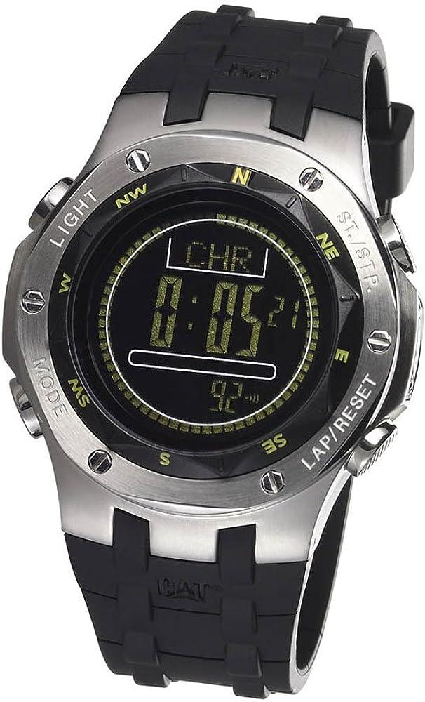 Caterpillar Navigo CA1614 - Reloj de Caballero de Cuarzo, Correa de Goma Color Negro (con Alarma)