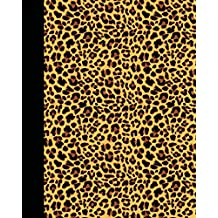 Sketch Journal: Animal Print (Leopard) 8x10 - Pages are LINED ON THE BOTTOM THIRD with blank space on top