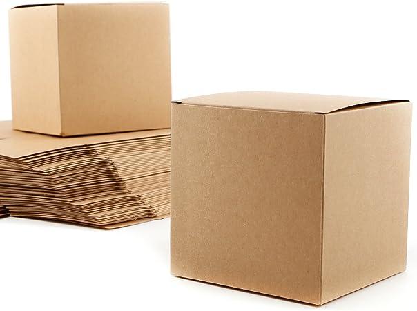 50 x caja de regalo de papel Kraft Cube 10 cm Pro boda bautizo: Amazon.es: Hogar