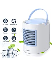 Anbber Climatiseur Mobile, Personal 4 en 1 Multifonction USB Portable Mini climatiseur, humidificateur et purificateur d'air avec veilleuse, 3 Niveaux de Puissance pour Le Camping à Domicile