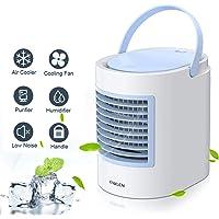 Klimagerät Mobil,Anbber Mini Luftkühler 4 in 1 Multifunktions-USB-tragbarer Mini Klimaanlage, Luftbefeuchter und Luftreiniger mit Nachtlicht, 3 Leistungsstufen für Home Office-Camping
