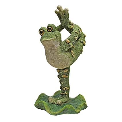 Delicieux Design Toscano Boogie Down Dancing Frog Statues, Leg Up, Multicolored
