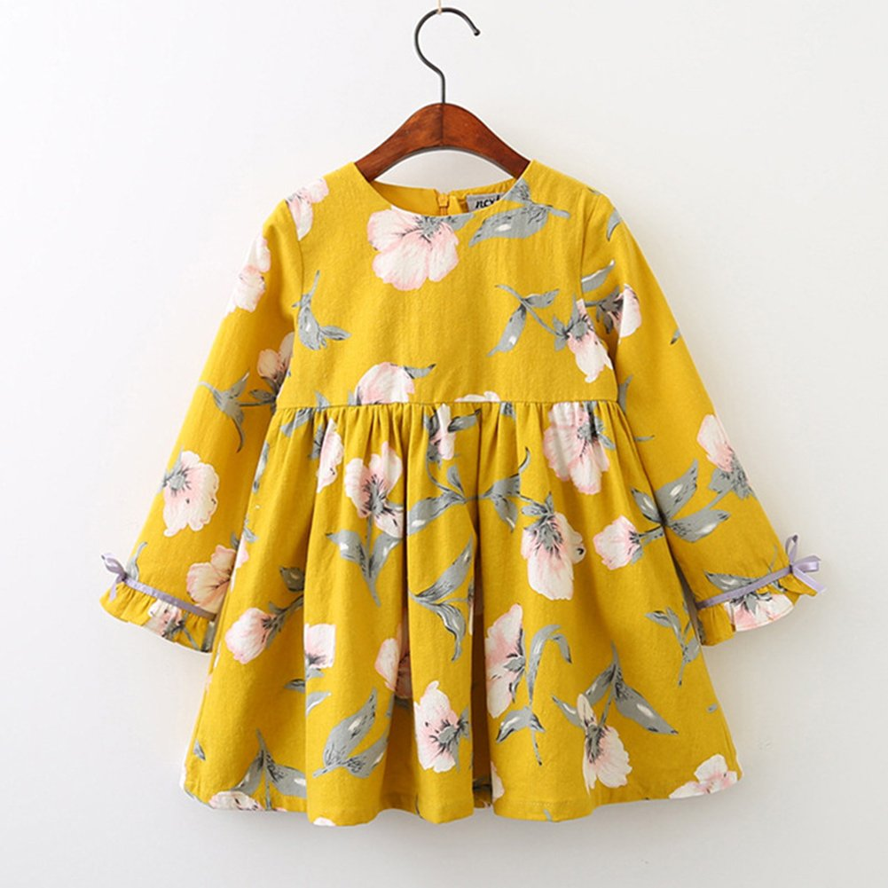 Gprince Baby Girl Clothes Princess Dress Floral Print Cotton Long Sleeve Party Gift