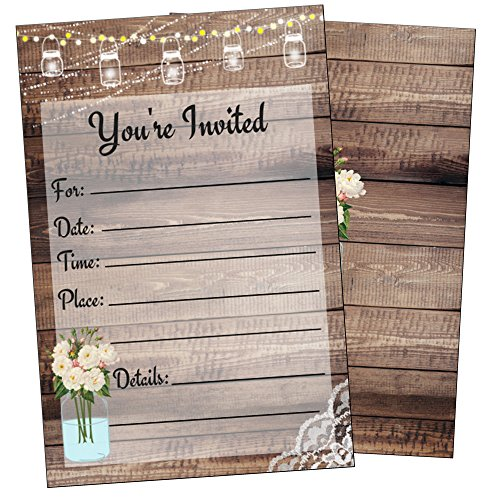 (Elegant Rustic Invitations-Bridal or Baby Shower, Birthday, Wedding Rehearsal Dinner, Engagement, Bachelorette, Reception, Anniversary, Housewarming, Sweet 16, Retirement- 25 Invites and Envelopes)