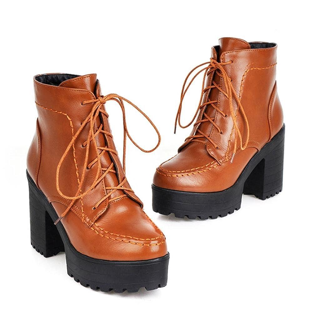 jaune 43 EU HETAO Talons de personnalité Femmes Bottes à Talons Hauts Femmes Ankle Martin bottes Lace Up Platform Party Chaussures élégantes