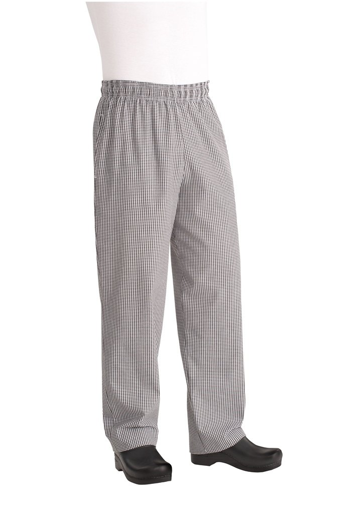 Chef Works Men's Essential Baggy Zip-Fly Chef Pant, Black/White Checked, Large