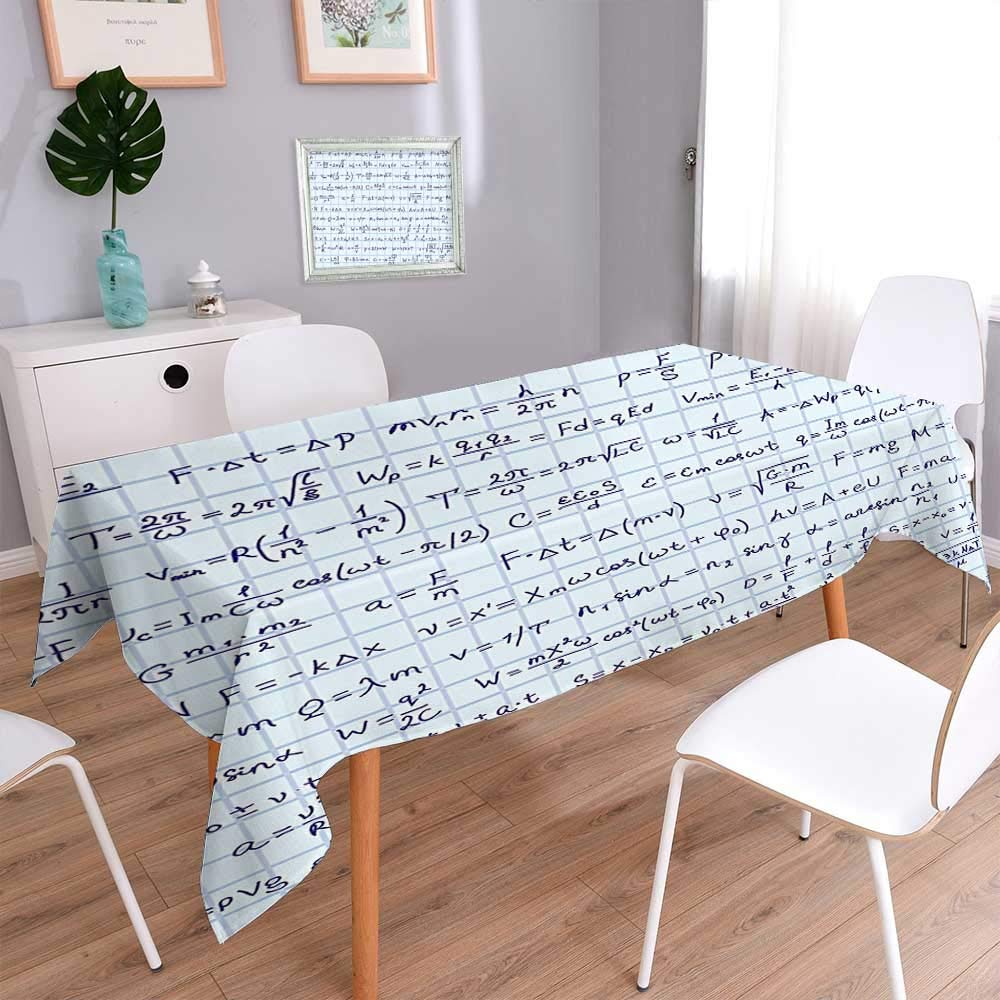 Polyesters Square Tablecloth School Decor Science Theme Hand Written Physics Formula Lesson Notes Illustration Blue Wedding Birthday Baby Shower Party 60''x104''