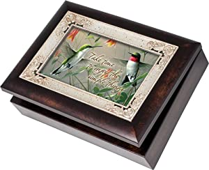 Cottage Garden Hummingbirds Burlwood With Silver Inlay Italian Style Music Box/Jewelry Box Plays Wind Beneath My Wings