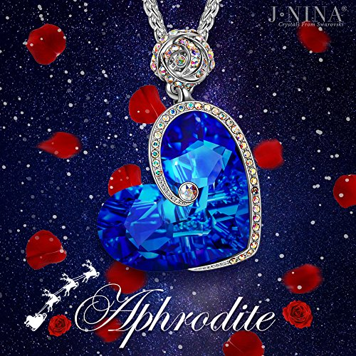 Large Product Image of Necklace Jewelry J.NINA Heart of Ocean Series Pendant Jewelry with Sapphire SWAROVSKI Crystals Anniversary Birthday Gift for Girlfriend Wife Daughter Mother Sister Niece
