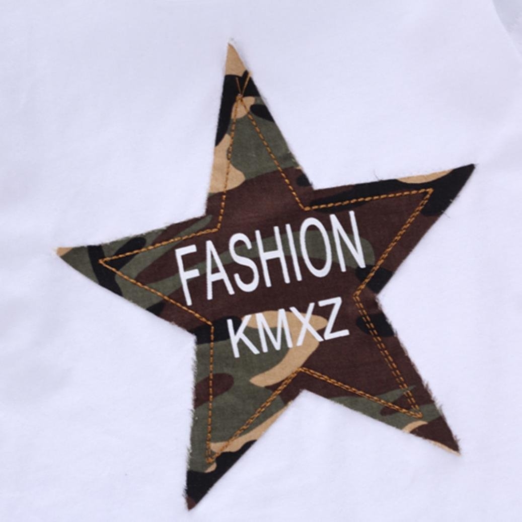 KaiCran Boys Cotton Short Sleeve Clothing Sets Star Camouflage Top/& Camouflage Bib Short Sets Two-Piece for Summer