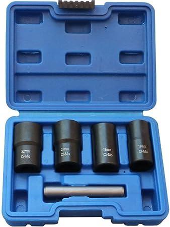5Pcs Twist Socket Set Locking Wheel Lug Nut Bolt Stud Extractor Removers Socket