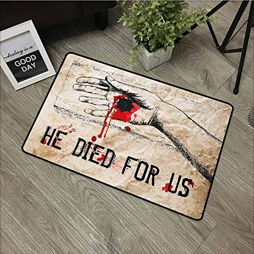- LOVEEO Indoor Doormat,Quote Bloody Hand Crucified in Drawing Style Calvary Death Cross Redemption Theme,Super Absorbs Mud,20