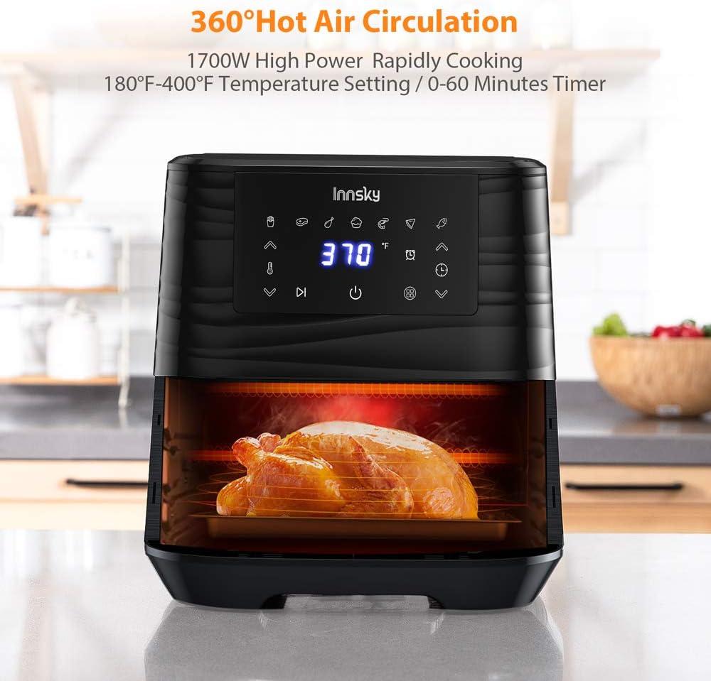 Innsky Air Fryer, 5.8 Quart, 1700-Watt Electric Stainless Steel Air Fryers Oven