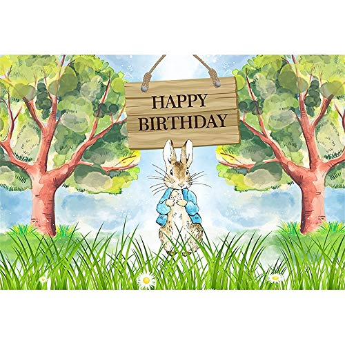 Happy Birthday Backdrop for Party 7x5 Cute Bunny Rabbit Wild Forest Photography Background Baby Shower Custom Name Baby Shower Tabletop Banner ()