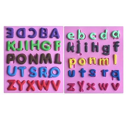 Karen Baking Inglés alfabeto 3D pastel de silicona forma del molde fondant decoración de la torta