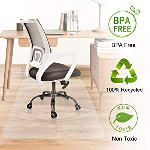 Office Desk Chair Mat Hardwood Floor Protector Heavy Duty Clear Recycled Polycarbonate BPA and Odor Free Non Slip Flat No Curling Home Office Computer Desk Floor Mats 46 x 60inches