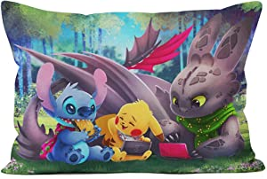 Lilo Stitch & How to Train Your Dragon Toothless Custom Zippered Pillow Cases Home Soft Confortable 20x30 inch (Twin Sides) (Stitch-4)