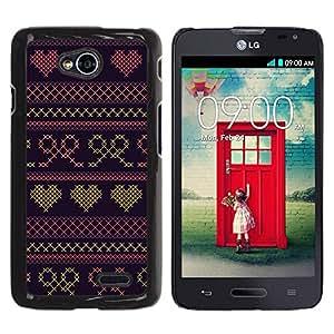 Be Good Phone Accessory // Dura Cáscara cubierta Protectora Caso Carcasa Funda de Protección para LG Optimus L70 / LS620 / D325 / MS323 // Heart Quilted Bowtie Purple Sweater