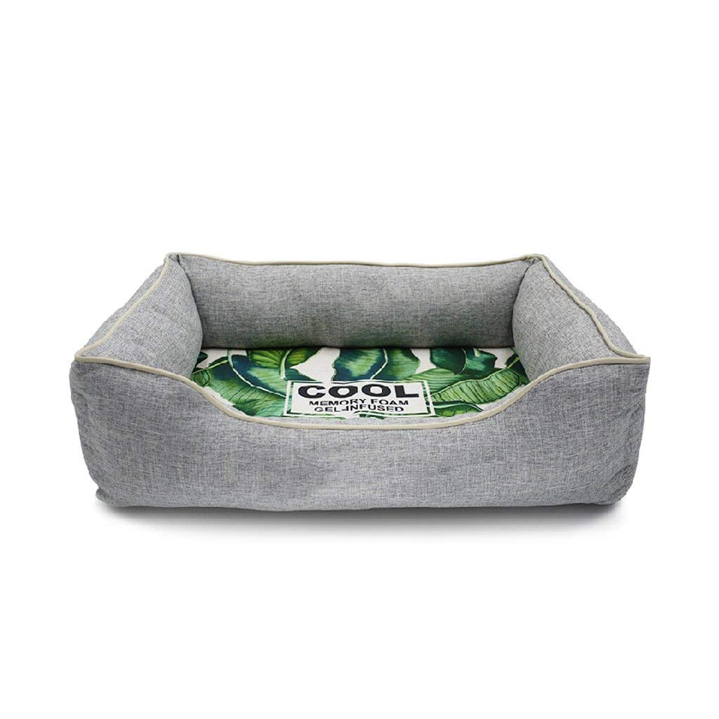 Kennels Dog Kennel, Cat Litter, Pet Season Nest, Memory Cotton, Gel, Washable, Cool in Summer, Medium, Small, Pet Supplies (Size : L)