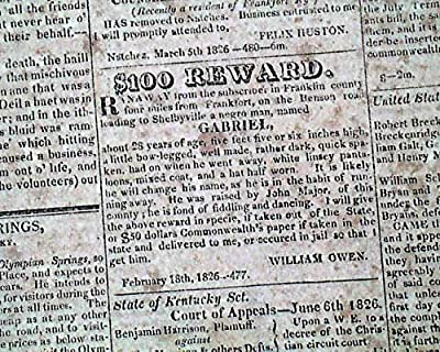 Very RARE & Early FRANKFORT KY Franklin County Co. Kentucky 1826 Old Newspaper THE COMMENTATOR, Frankfort, Kentucky, June 24, 1826