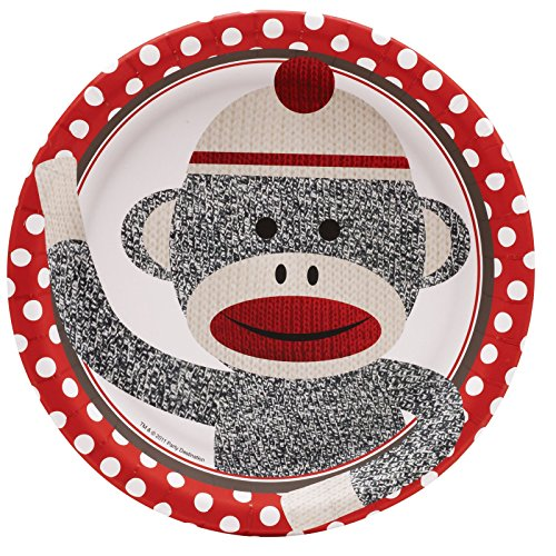 Sock Monkey Party Supplies - Dinner Plates (8) - Sock Puppet Costume Monkey