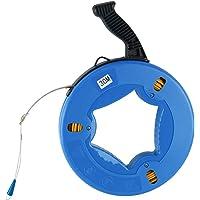 Yaetek 4mmx30m(5/32 Inch,100FT) Fiberglass Wire Cable Electrical Fish Tape Reel, Fiberglass Wall line Reel Fishtape Puller, Blue