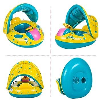 Hongtianyuan Flotador para bebé con Asiento,Respaldo,Techo del Sol, Barca bebé de Piscina para 1-3 Años de Edad: Amazon.es: Juguetes y juegos