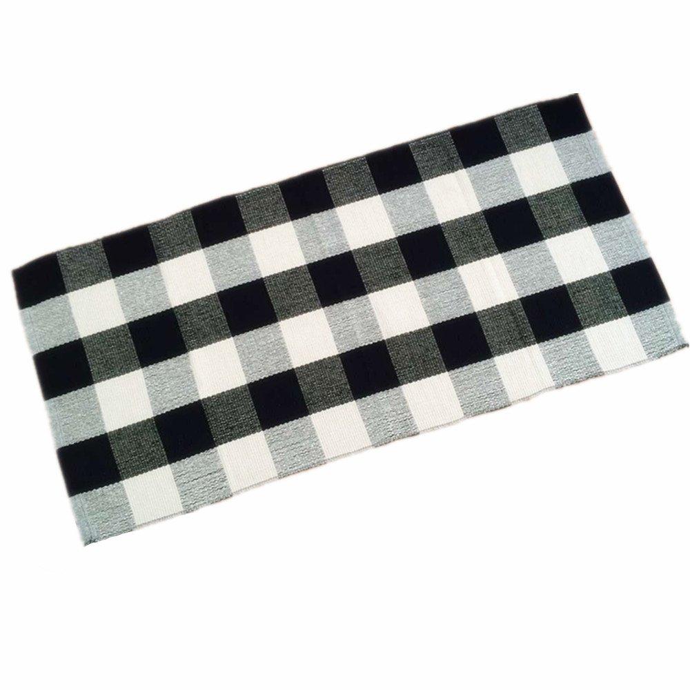 Amazon.com: Ustide 100% Cotton Rugs Black/White Checkered Plaid Rug ...