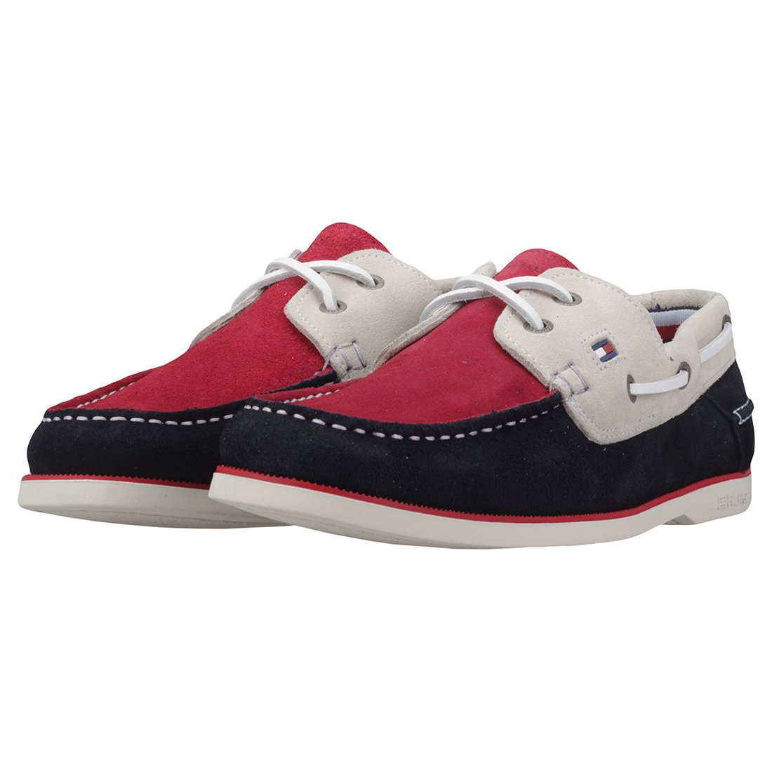 4d93507b226 Tommy Hilfiger Classic Suede Mens Boat Shoes Red Navy - 40 EU  Amazon.ca   Shoes   Handbags