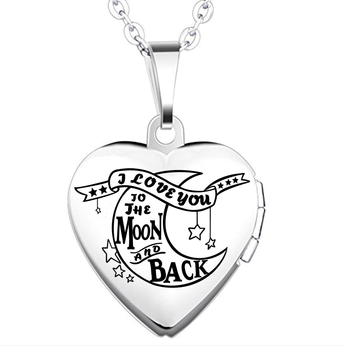 IXIQI Locket I Love You to the Moon and Back Titanium Heart Infinity Love Locket Necklace UK_B07BNH4G8Z