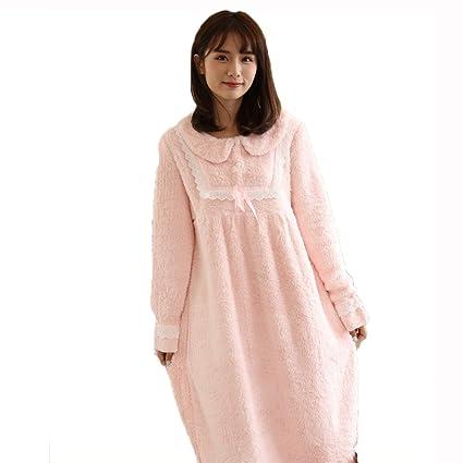 Casa de terciopelo lkklily-coral pijama mujer cálido dulce princesa sueño falda corte viento Loose
