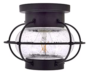 Sylvania 75515 Essex Cage Light, LED, Semi-Flush Mount, Dimmable Bulb Included Vintage Fixture Antique Black