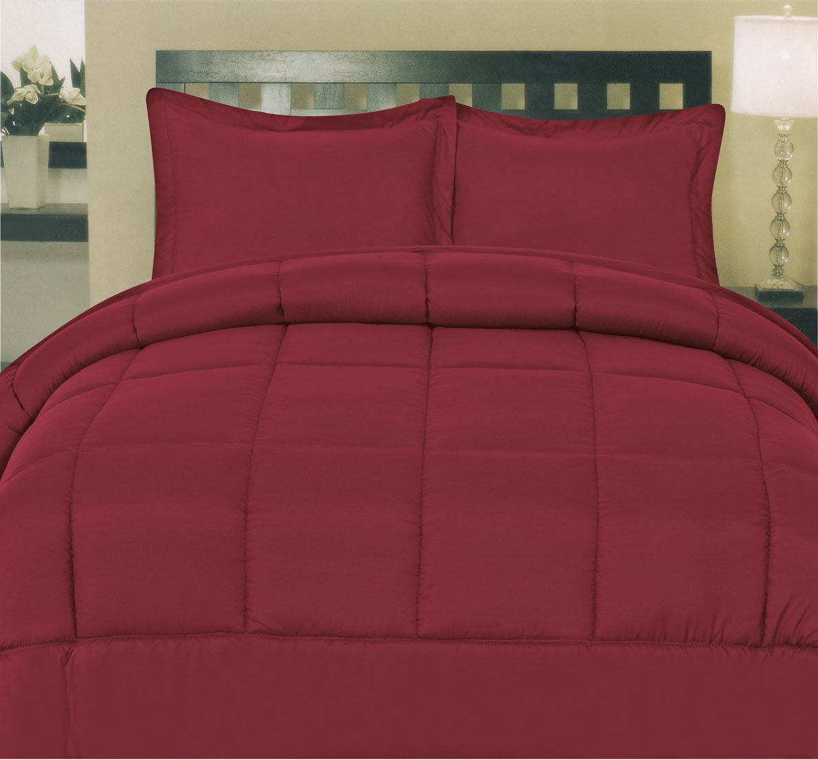 Sweet Home Collection White Goose Down Alternative Comforter, Queen, Burgundy