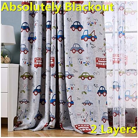 MYRU Absolutely Blackout Curtains for Kids Room,2 Layers Lined Curtains for Boys Girls Room,Set of 2 Cartoon Car, 2 x 39 x 84 Inch