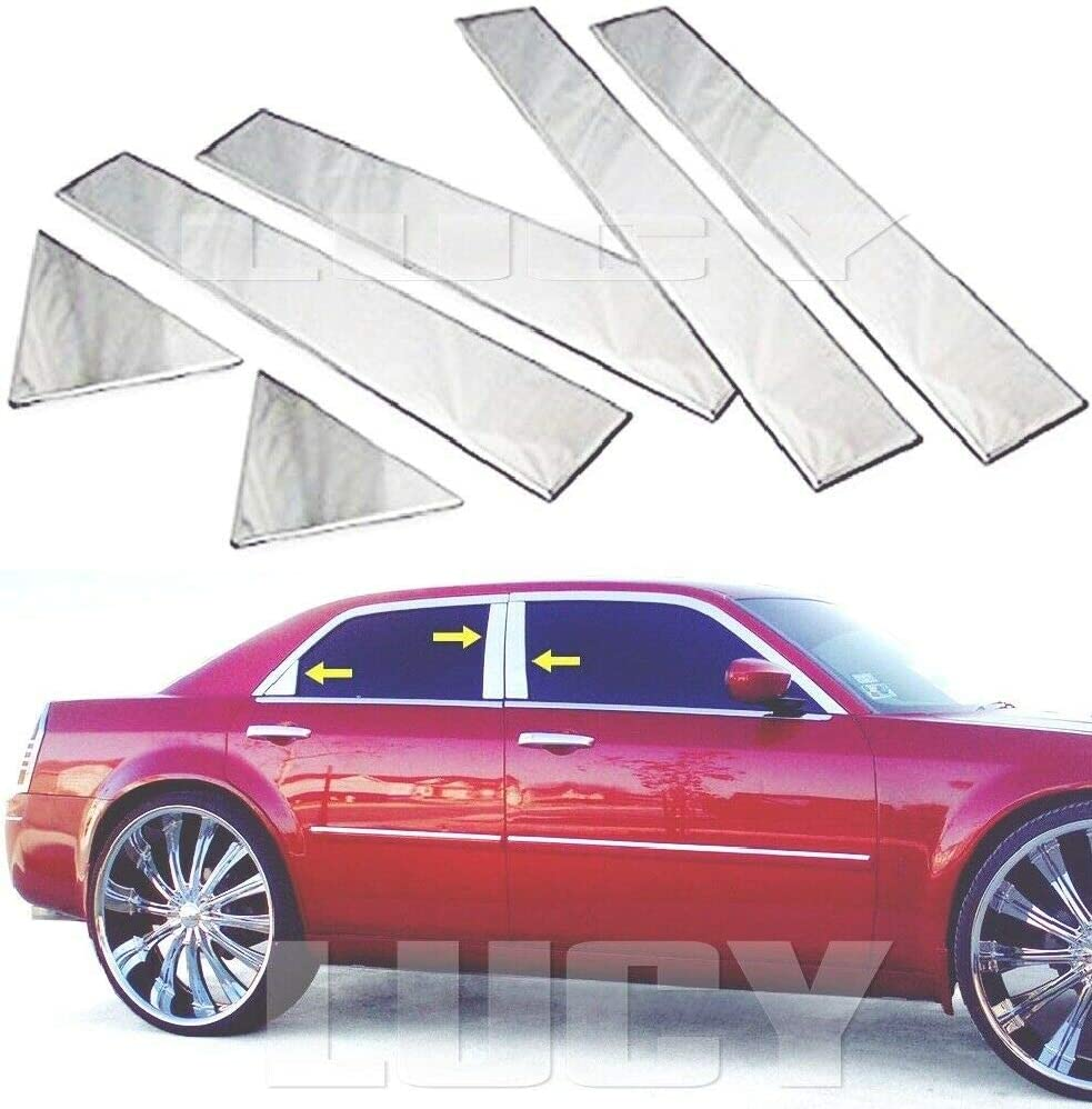 For 300 300C 2004-2012 Stainless Steel CHROME Door Window Pillar Post Cover Trim Molding 6 Pieces