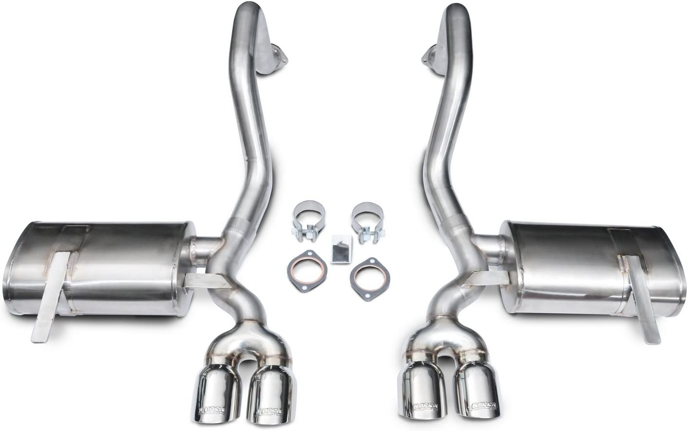 CORSA 14108 Sport 2.5 Diameter Stainless Steel Axle-Back Exhaust System Kit with Twin 3.5 Pro-Series Tips for Chevy Corvette