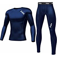 FDX Mens Compression Armour Base Layer Top Skin Fit Shirt + Pants/Tights Set