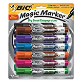 BIC Magic Marker Brand Dry Erase Marker, Tank Style, Chisel Tip, Assorted Colors, 12-Count