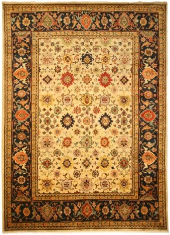 EORC SHT19IV Hand Knotted Wool Super Mahal Rug, 4-Feet by 6-Feet, Ivory