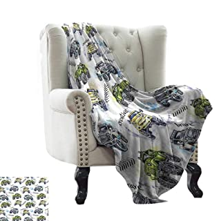 WinfreyDecor Warm Blanket Childish Drawing of Automobiles with a Cat in Traffic Speeding on a Old City Highway Sofa Chair 60' Wx60 L